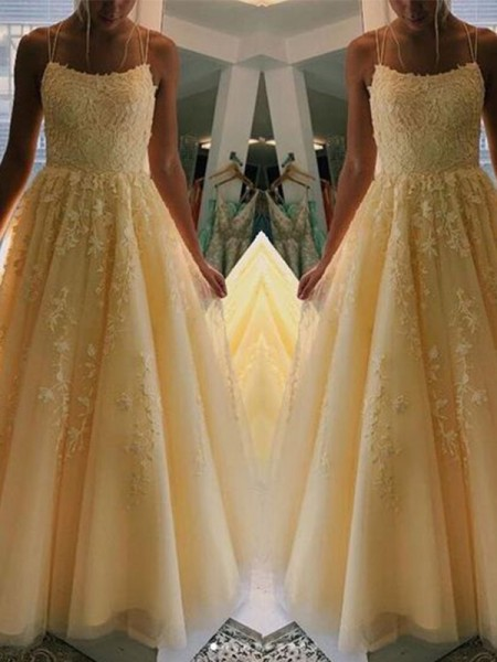 A-Line/Princess Tulle Applique Sleeveless Long Dresses