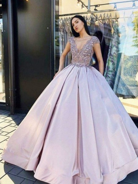Ball Gown Satin Beading V-neck Short Sleeves Long Dresses
