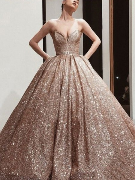 Ball Gown Sequins Sweetheart Sleeveless Floor-Length Dresses
