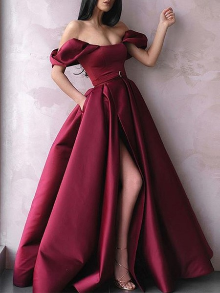 A-Line/Princess Off-the-Shoulder Satin Long Sleeveless Dresses