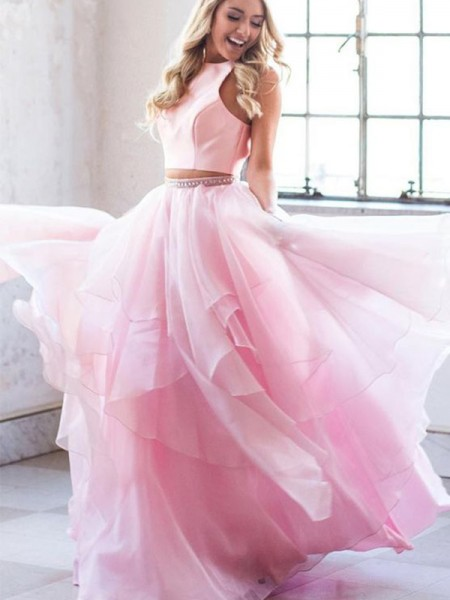 A-Line/Princess Beading Scoop Tulle Sleeveless Long Two Piece Dresses