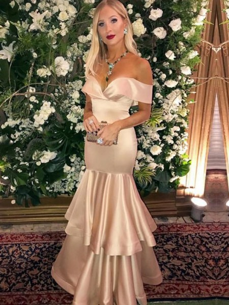 Trumpet/Mermaid Satin Off-the-Shoulder Sleeveless Long Dresses
