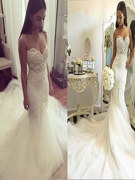 Trumpet/Mermaid Spaghetti Straps Chapel Train Tulle Wedding Dress