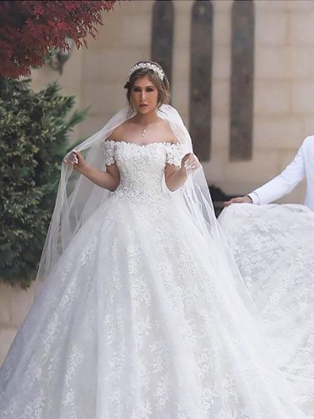 Ball Gown Off-the-Shoulder Lace Tulle Court Train Wedding Dress