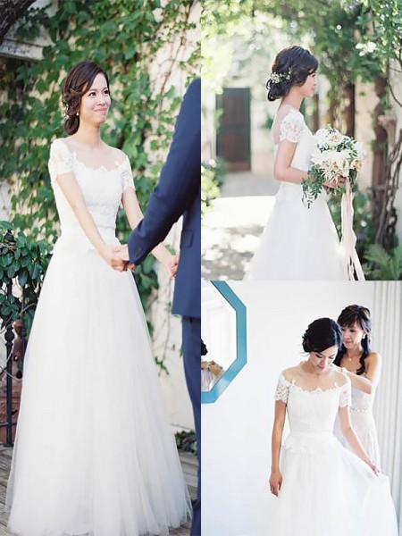 A-Line/Princess Bateau Tulle Sweep/Brush Train Wedding Dress