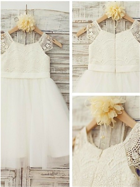 A-line/Princess Scoop Lace Knee-Length Tulle Baby Girl Dresses