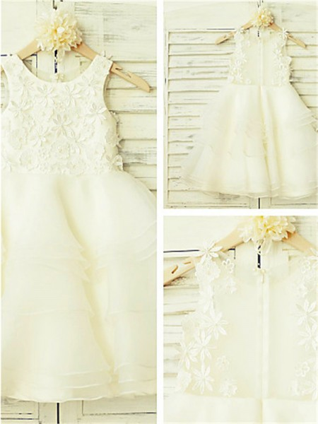 A-line/Princess Scoop Lace Tea-Length Tulle Little Girl Dresses