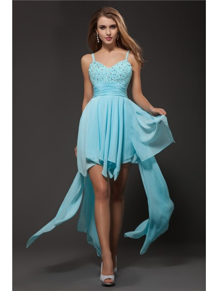 A-Line/Princess Spaghetti Straps Rhinestone Chiffon Cocktail Dress