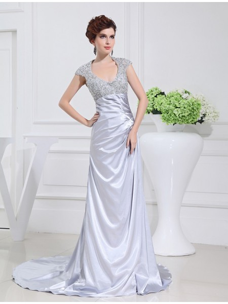 A-Line/Princess Scoop Long Lace Elastic Woven Satin Dress