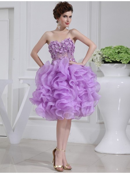 A-Line/Princess Sweetheart Organza Cocktail Dress