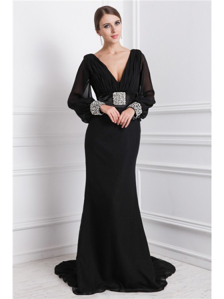 Trumpet/Mermaid V-neck Long Sleeves Chiffon Dress
