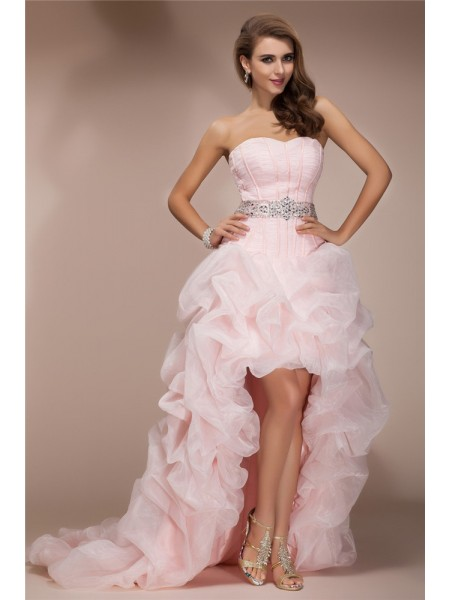 A-Line/Princess Sweetheart High Low Organza Dress
