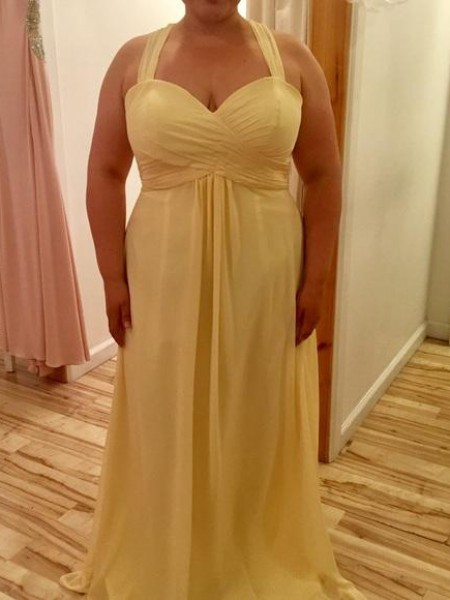 A-Line/Princess Halter Ruched Floor-Length Chiffon Plus Size Dress
