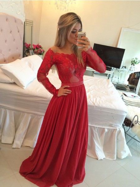 A-Line/Princess Off-the-Shoulder Chiffon Sweep/Brush Train Applique Dress
