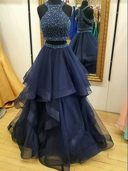 A-Line/Princess Sleeveless Halter Tulle Beading Floor-Length Two Piece Prom Gowns