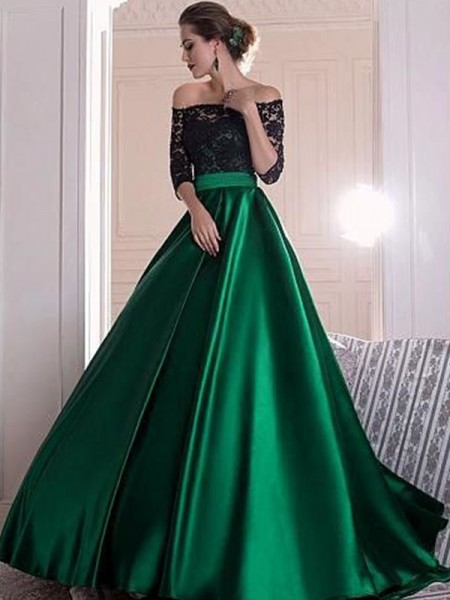 A-Line/Princess 3/4 Sleeves Off-the-Shoulder Ruched Sweep/Brush Train Satin Dresses with Lace