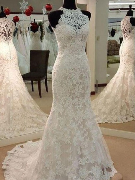 Sheath/Column Sleeveless Applique Scoop Sweep/Brush Train Lace Wedding Dresses