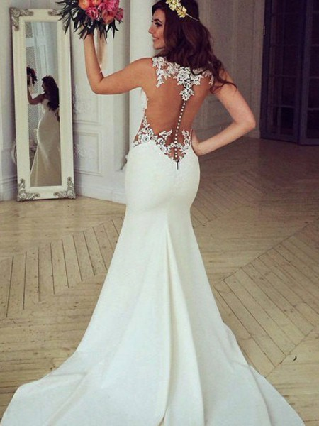 Trumpet/Mermaid Scoop Sweep/Brush Train Applique Sleeveless Lace Wedding Dresses
