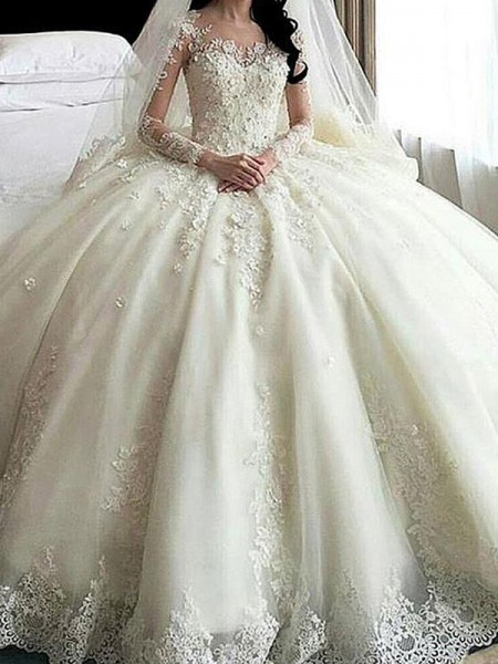 Ball Gown Scoop Cathedral Train Long Sleeves Lace Applique Tulle Wedding Dresses