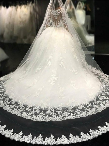 Ball Gown Scoop Long Sleeves Lace Cathedral Train Applique Tulle Wedding Dresses