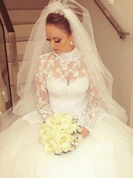 Ball Gown Long Sleeves High Neck Sweep/Brush Train Sash/Ribbon/Belt Lace Wedding Dresses