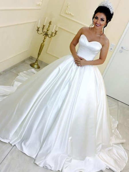 Ball Gown Sweetheart Sleeveless Satin Sash/Ribbon/Belt Cathedral Train Wedding Dresses