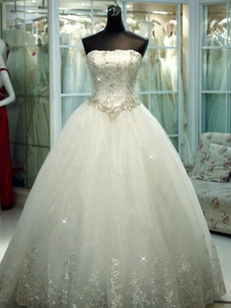 Ball Gown Beading Strapless Tulle Sleeveless Floor-Length Wedding Dresses