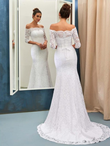 Trumpet/Mermaid 1/2 Sleeves Lace Off-the-Shoulder Sweep/Brush Train Wedding Dresses