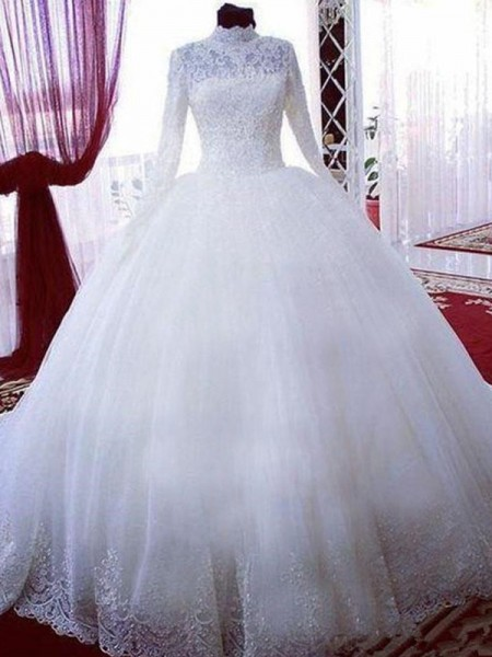 Ball Gown Tulle High Neck Long Sleeves Chapel Lace Train Wedding Dresses
