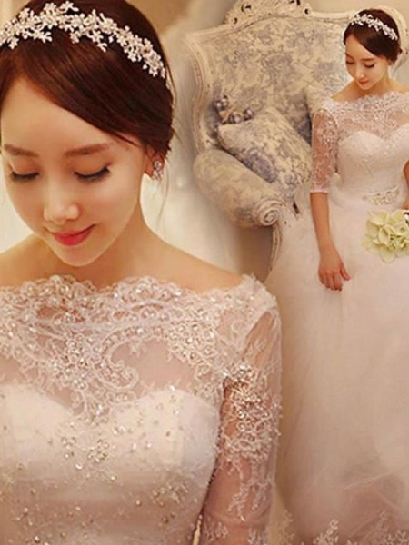 Ball Gown Beading Train Tulle 1/2 Sleeves Off-the-Shoulder Chapel Wedding Dresses