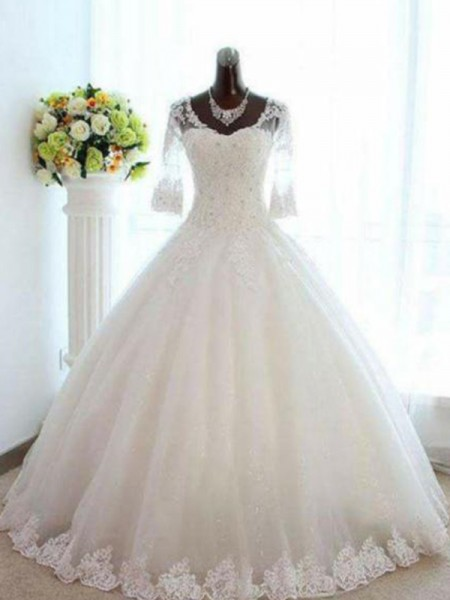 Ball Gown V-neck Beading Tulle Floor-Length 3/4 Sleeves Bateau Wedding Dresses