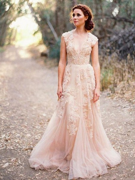A-Line/Princess Applique Tulle V-neck Sleeveless Sweep/Brush Train Wedding Dresses