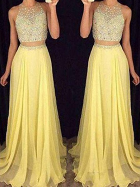 Princess Scoop Sweep/Brush Train Beading Chiffon Two Piece Evening Dresses