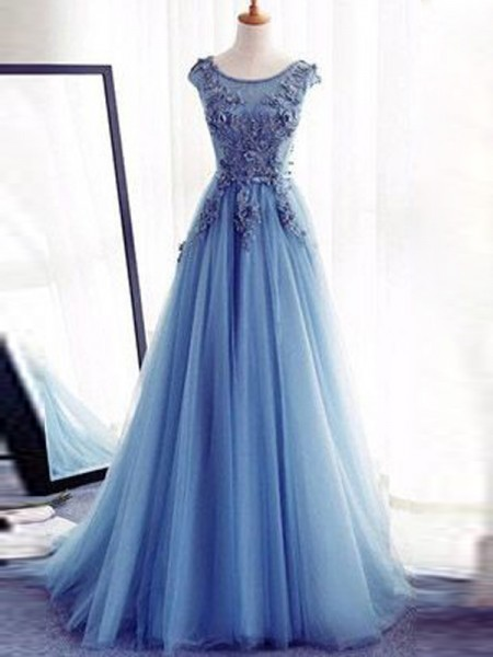 Ball Gown Sleeveless Jewel Floor-Length Applique Tulle Prom Gown