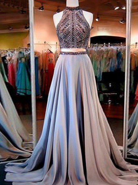 A-Line Sleeveless High Neck Satin Beading Floor Length Two Piece Evening Wear