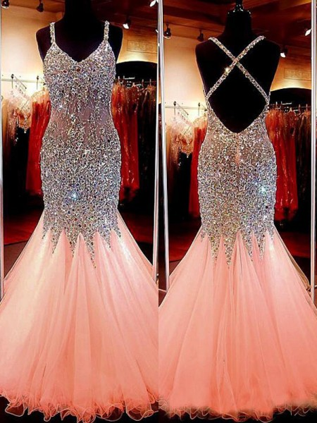 Trumpet/Mermaid Sleeveless V-neck Tulle Sequin Floor-Length Prom Gowns