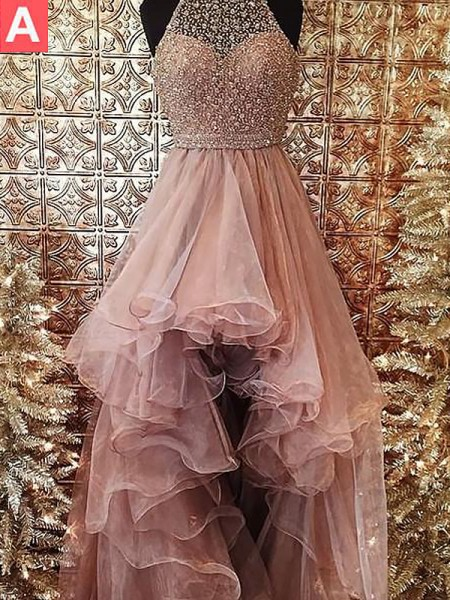 Ball Gown Halter Sleeveless Beading Sweep/Brush Train Organza Prom Gowns