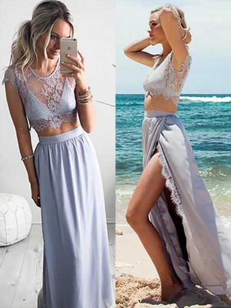 A-Line/Princess Jewel Sleeveless Satin Floor-Length Lace Two Piece Prom Gowns