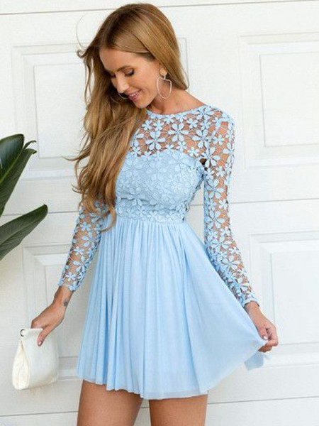 A-Line/Princess Scoop Long Sleeves Lace Short/Mini Chiffon Dress