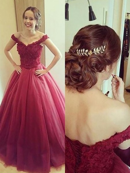 Ball Gown Off-the-Shoulder Applique Court Train Tulle Evening Dresses
