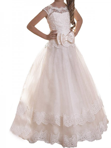 A-line/Princess Scoop Sash/Ribbon/Belt Tulle Floor-Length Flower Girl Dress