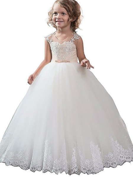 Ball Gown Scoop Applique Tulle Floor-Length Flower Girl Dress
