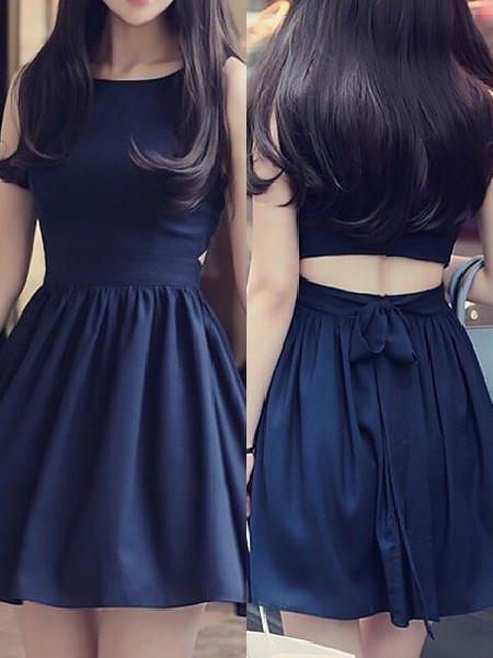 A-Line/Princess Scoop Short/Mini Chiffon Dress