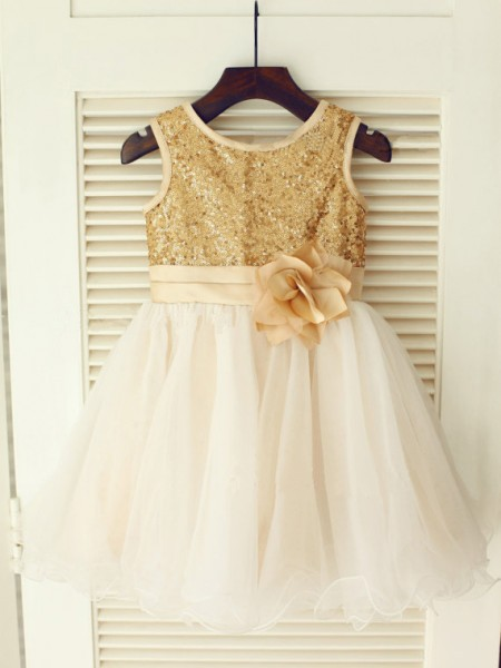 Cute Princess Scoop Sleeveless Sequin Knee-Length Organza Little Girl Dress