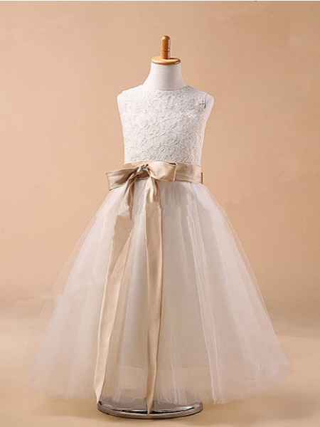 Cute Ball Gown Jewel Sleeveless Bowknot Tea-Length Tulle Flower Girl Dress