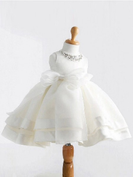 Cute Ball Gown Jewel Sleeveless Bowknot Tea-length Satin Flower Girl Dress