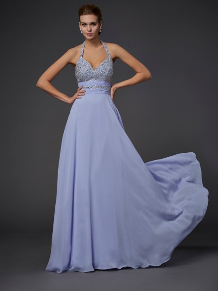 A-Line/Princess Halter Beading Chiffon Long Dress