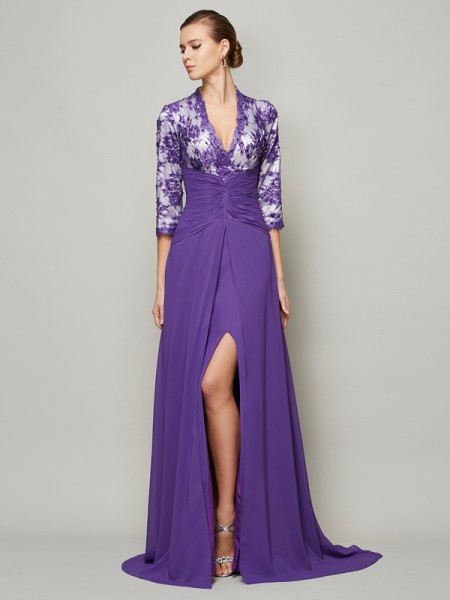 A-Line/Princess V-neck 1/2 Sleeves Beading Dress with Long Chiffon