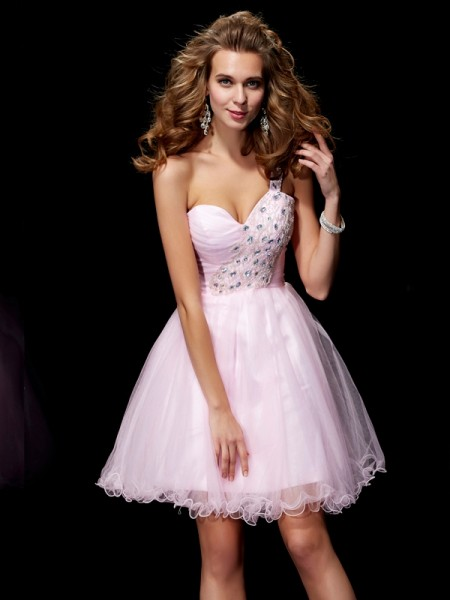 A-Line/Princess One-Shoulder Beading Short Elastic Woven Satin Homecoming Dress