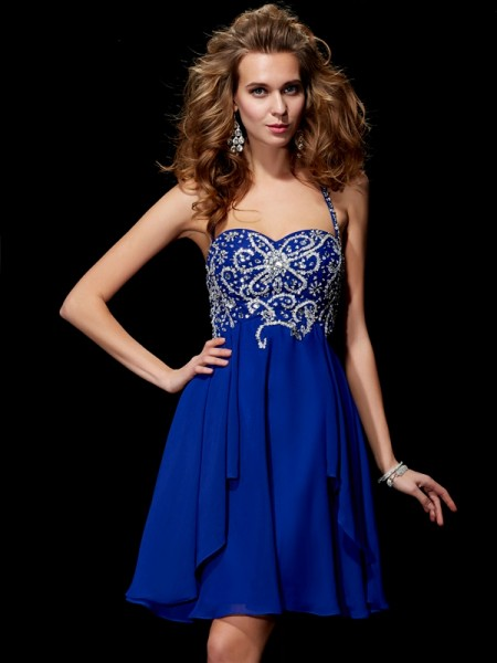 A-Line/Princess Halter Beading Short Chiffon Homecoming Dress